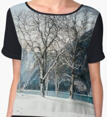 Trees By The Winter Lake Chiffon Top