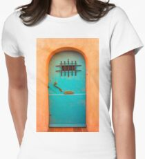Vintage blue door Womens Fitted T-Shirt