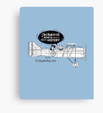 Retro lady in biplane, vintage blue airplane Canvas Print