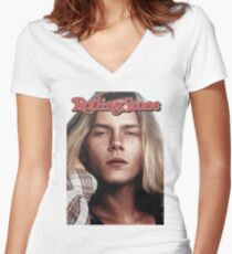 River Phoenix (Rolling Stone Magazine) Women's Fitted V-Neck T-Shirt