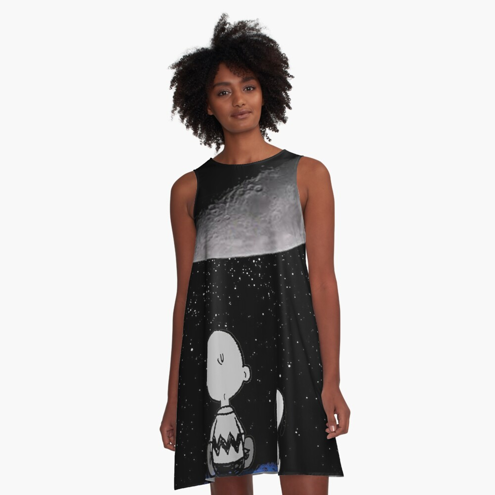 snoopy and charlie night sky A-Line Dress Front