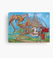 Knight, dragon and castle  Canvas Print