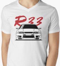 Skyline R33 GTR T-Shirt mit V-Ausschnitt für Männer