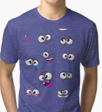 Seamless pattern with funny cartoon faces Tri-blend T-Shirt