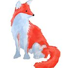 Cute Fox with Fluffy Tail by DominicWhiteArt