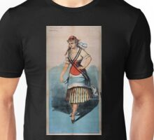 Performing Arts Posters Chorus girl in striped skirt and striped socks 1712 Unisex T-Shirt