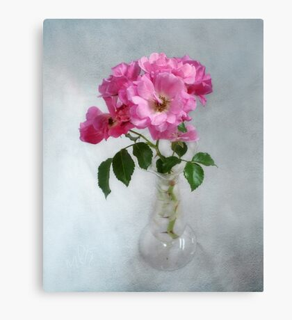 Deep Pink Roses in a Clear Glass Vase Canvas Print