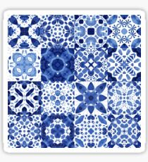 Indigo Watercolor Tiles Sticker