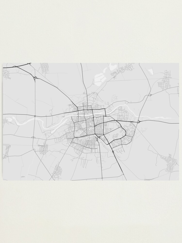 Plovdiv Bulgaria Map Black On White Photographic Print By