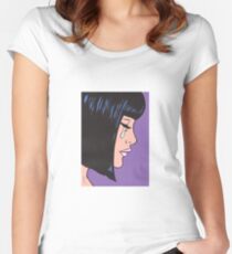 Black Bob Crying Comic Girl Women's Fitted Scoop T-Shirt