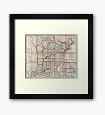 0016 Railroad Maps A new map of the United States Upon which are delineated its vast works of internal communication routes across the continent c showing also Canada and Framed Print