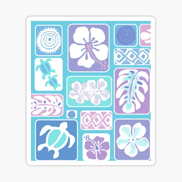 Lokelani Hawaiian Quilt Design Sticker
