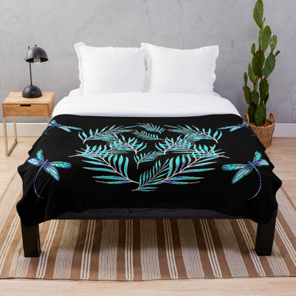 Dragonflies and Leaves Throw Blanket