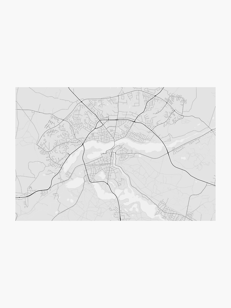 Silkeborg, Denmark Map. (Black on white) | Photographic Print