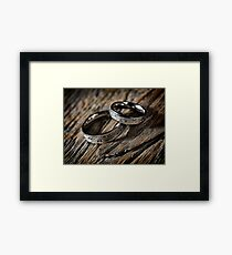 Two wedding rings with Celtic design art photo print Framed Print