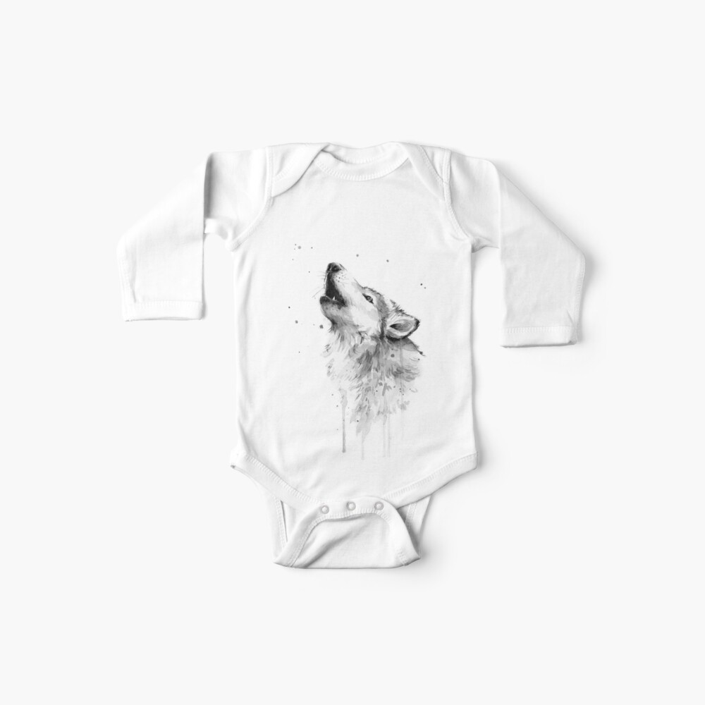 Wolf Howling Watercolor Baby One-Piece