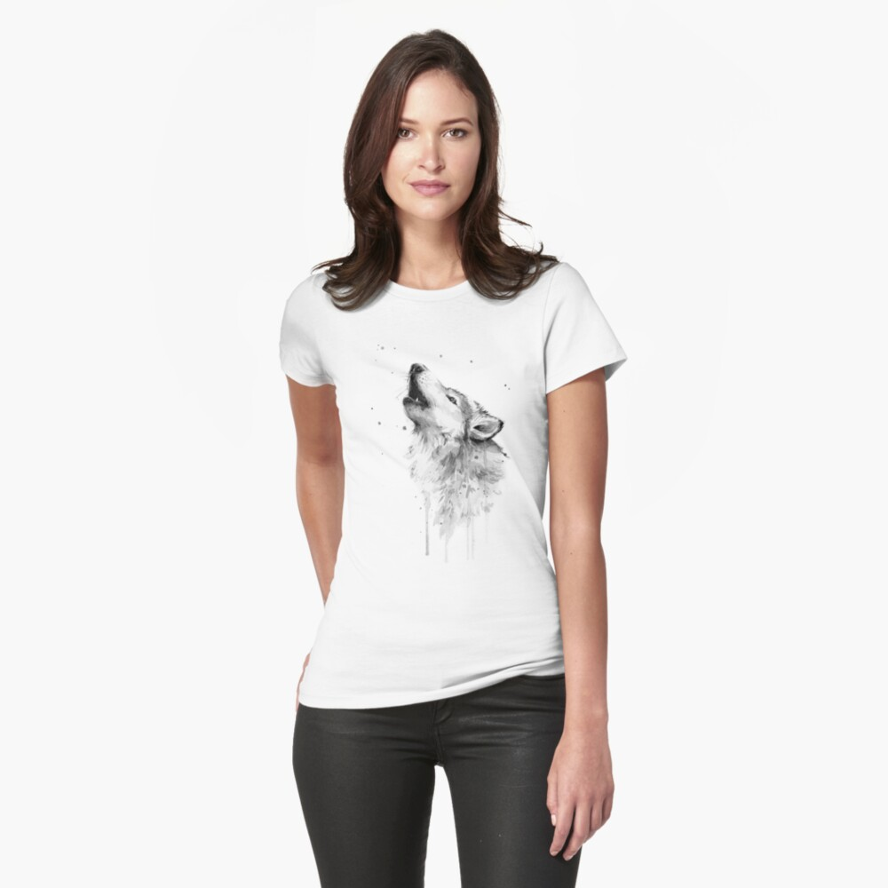 Wolf Howling Watercolor Fitted T-Shirt