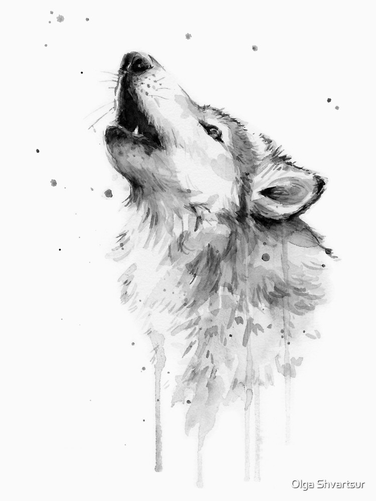 Wolf Howling Watercolor by olga-shvartsur