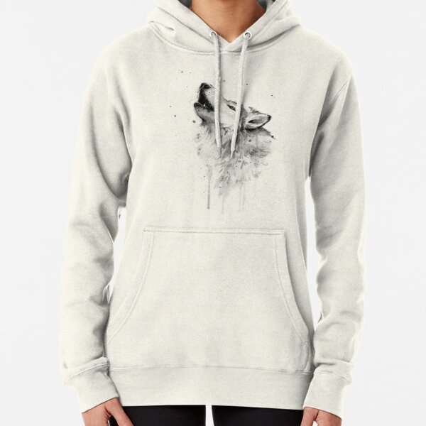 Wolf Howling Watercolor Pullover Hoodie