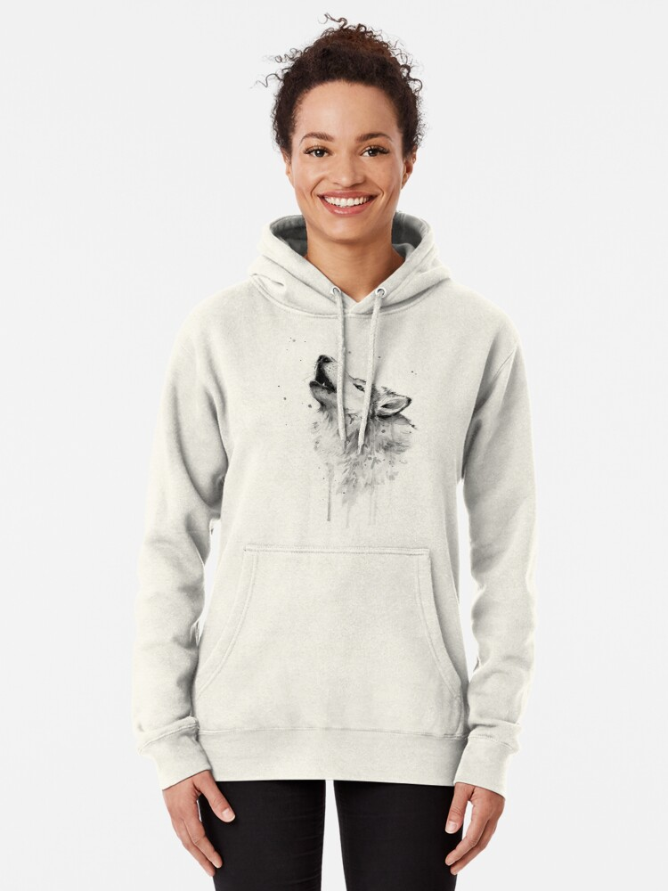 Alternate view of Wolf Howling Watercolor Pullover Hoodie