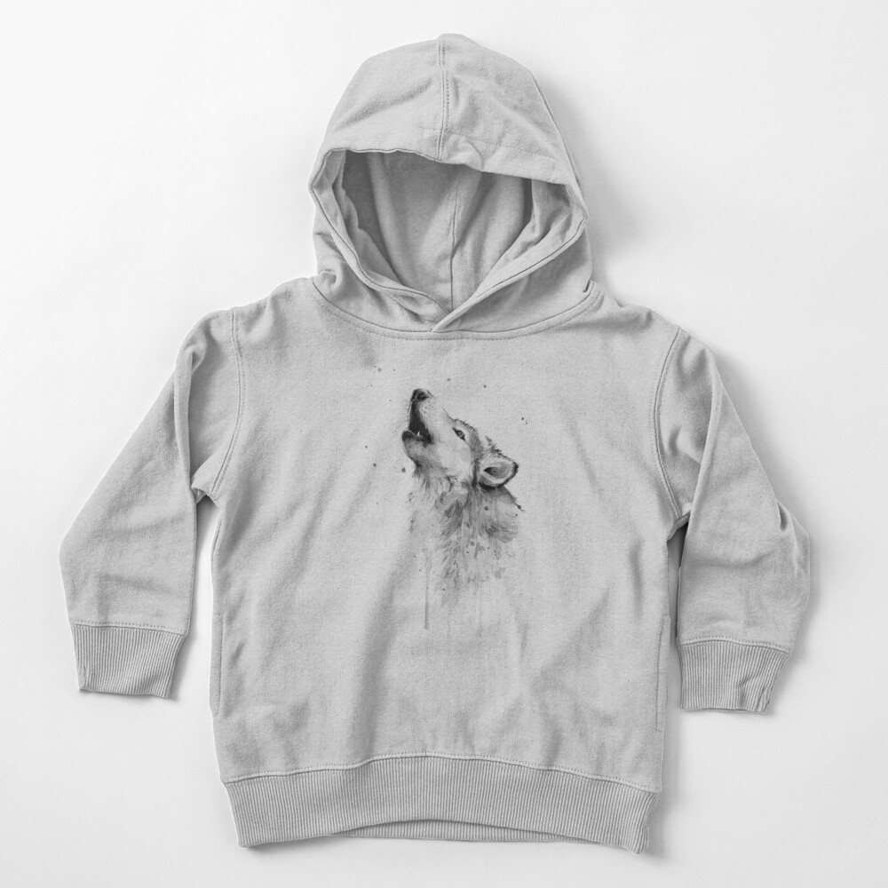 Wolf Howling Watercolor Toddler Pullover Hoodie
