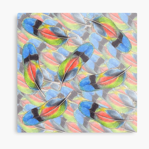 Floating Feathers Metal Print