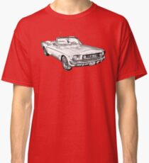 1965 Red Ford Mustang Convertible Drawing Classic T-Shirt