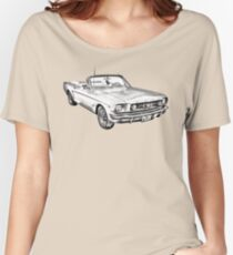 1965 Red Ford Mustang Convertible Drawing Women's Relaxed Fit T-Shirt