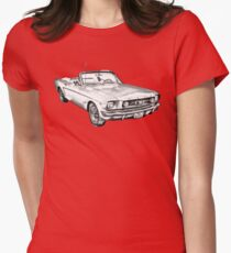1965 Red Ford Mustang Convertible Drawing Womens Fitted T-Shirt
