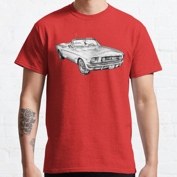 1965 Ford Mustang cabriolet rouge dessin T-shirt classique