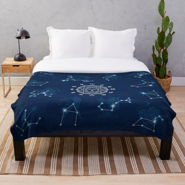 Astrological Constellations Night Sky Throw Blanket