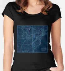 0329 Railroad Maps H V Poor's rail road map showing particularly the location and connections of the North East South West Alabama Rail Road by E D Sanford Civil Inverted Women's Fitted Scoop T-Shirt