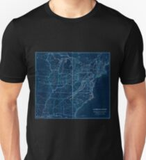 0329 Railroad Maps H V Poor's rail road map showing particularly the location and connections of the North East South West Alabama Rail Road by E D Sanford Civil Inverted Unisex T-Shirt