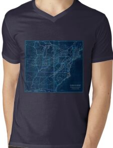 0329 Railroad Maps H V Poor's rail road map showing particularly the location and connections of the North East South West Alabama Rail Road by E D Sanford Civil Inverted Mens V-Neck T-Shirt