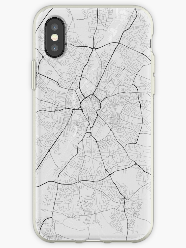 Leicester England Map Black On White Iphone Cases Covers By