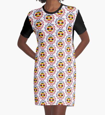 Ugandan American Multinational Patriot Flag Series Graphic T-Shirt Dress