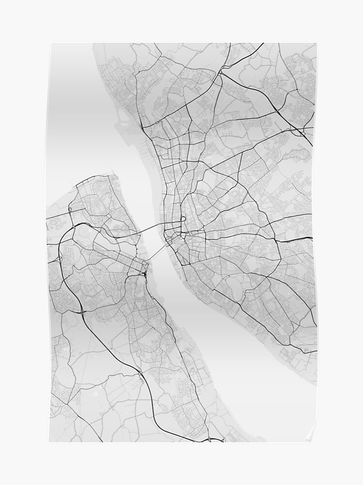 Liverpool Map Of England.Liverpool England Map Black On White Poster
