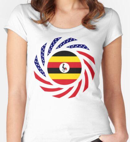 Ugandan American Multinational Patriot Flag Series Fitted Scoop T-Shirt