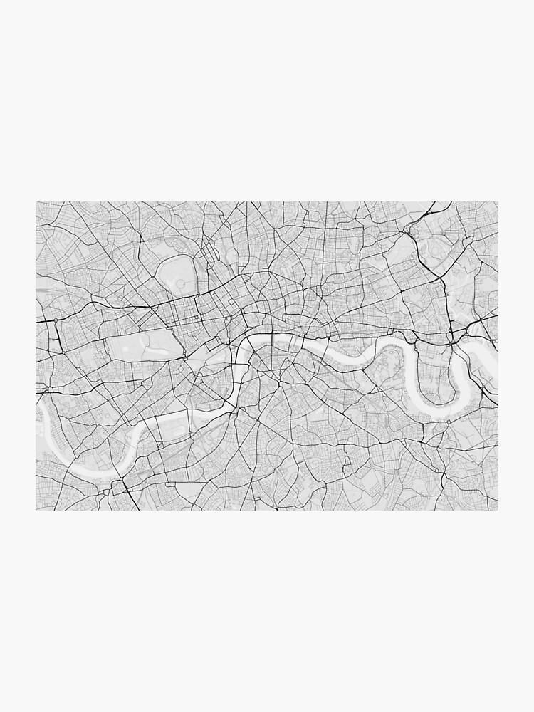 London In England Map.London England Map Black On White Photographic Print