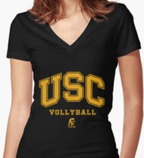 USC Vollyball Fight ON Women's Fitted V-Neck T-Shirt