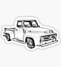 1955 F100 Ford Pickup Truck Illustration Sticker