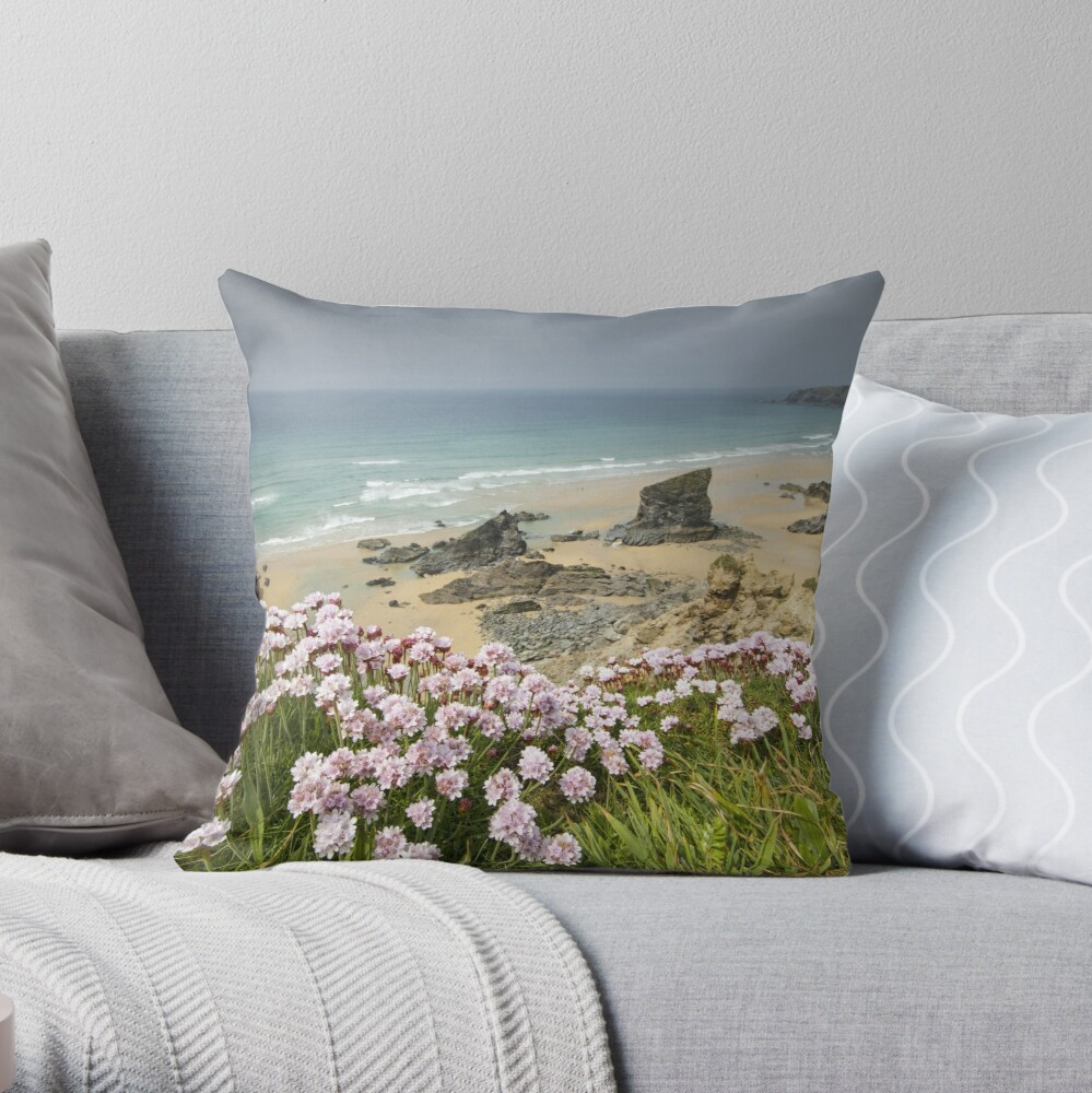 Cornwall - Bedruthan Steps Throw Pillow