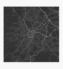 Sheffield, England Map. (White on black) Photographic Print