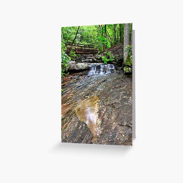 Falling Water And Bridge Greeting Card