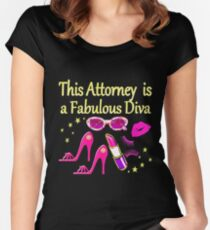 PINK THIS ATTORNEY IS FABULOUS DIVA DESIGN Women's Fitted Scoop T-Shirt