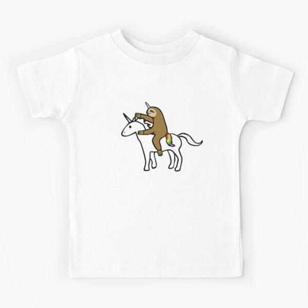 Slothicorn Riding Unicorn Kids T-Shirt
