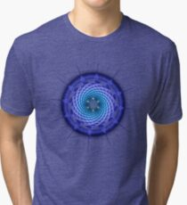 Merkaba Spiral Mandala Blue  ( Fractal Geometry ) Tri-blend T-Shirt