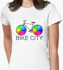 Bike City Concept Illustration Women's Fitted T-Shirt