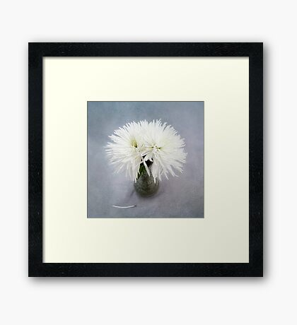 Fancy White Mums in a Green Vase Framed Print