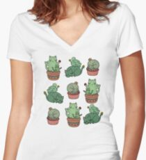 Cactus Cats Women's Fitted V-Neck T-Shirt